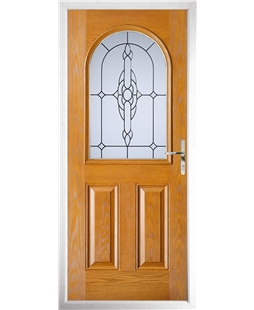 The Edinburgh Composite Door in Oak with Crystal Bohemia Frost