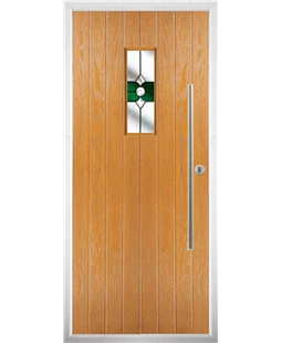 The Zetland Composite Door in Oak with Green Crystal Bohemia