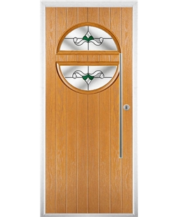 The Xenia Composite Door in Oak with Green Crystal Bohemia