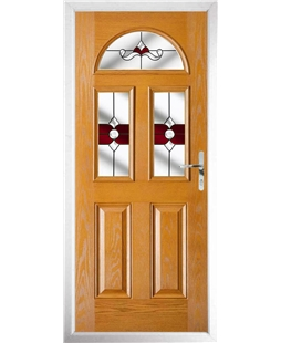 The Glasgow Composite Door in Oak with Red Crystal Bohemia