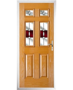 The Oxford Composite Door in Oak with Red Crystal Bohemia