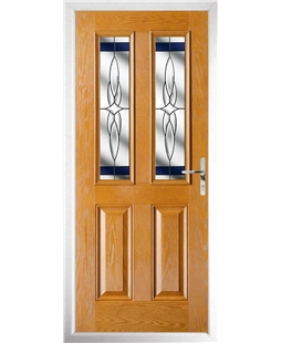 The Cardiff Composite Door in Oak with Blue Crystal Harmony