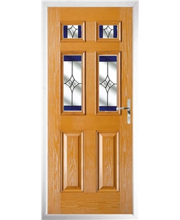 The Oxford Composite Door in Oak with Blue Crystal Harmony