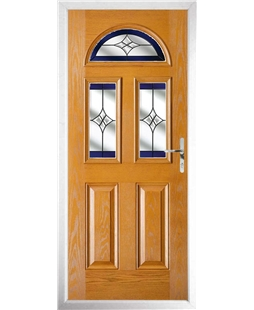The Glasgow Composite Door in Oak with Blue Crystal Harmony