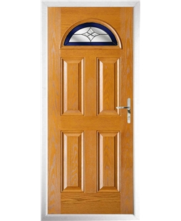 The Derby Composite Door in Oak with Blue Crystal Harmony