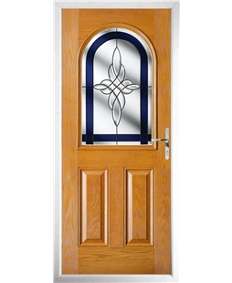 The Edinburgh Composite Door in Oak with Blue Crystal Harmony