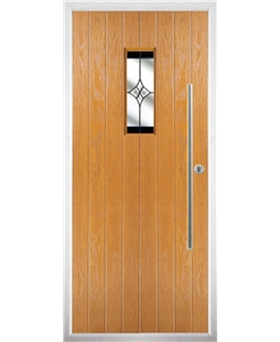 The Zetland Composite Door in Oak with Black Crystal Harmony