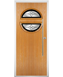 The Xenia Composite Door in Oak with Black Crystal Harmony