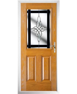 The Farnborough Composite Door in Oak with Black Crystal Harmony