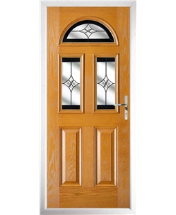 The Glasgow Composite Door in Oak with Black Crystal Harmony