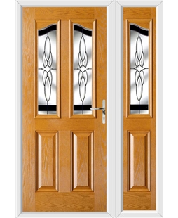 The Birmingham Composite Door in Oak with Black Crystal Harmony and matching Side Panel