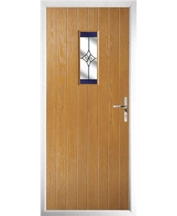 The Taunton Composite Door in Oak with Blue Crystal Harmony