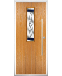 The York Composite Door in Oak with Blue Crystal Harmony