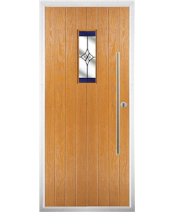The Zetland Composite Door in Oak with Blue Crystal Harmony