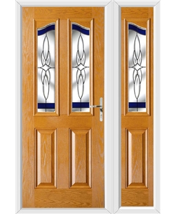 The Birmingham Composite Door in Oak with Blue Crystal Harmony and matching Side Panel