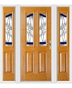 The Birmingham Composite Door in Oak with Blue Crystal Harmony and matching Side Panels