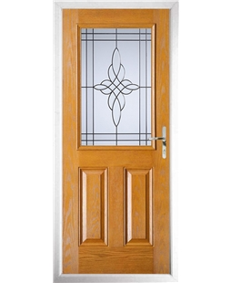 The Farnborough Composite Door in Oak with Crystal Harmony Frost