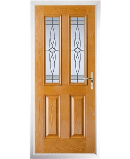 The Cardiff Composite Door in Oak with Crystal Harmony Frost