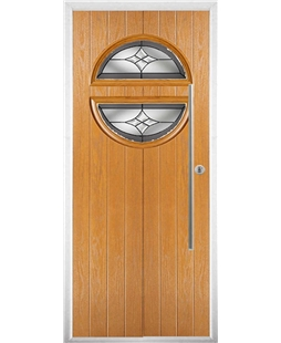 The Xenia Composite Door in Oak with Crystal Harmony Frost