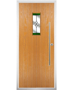 The Zetland Composite Door in Oak with Green Crystal Harmony