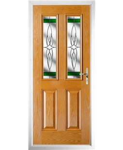 The Cardiff Composite Door in Oak with Green Crystal Harmony