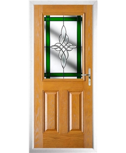 The Farnborough Composite Door in Oak with Green Crystal Harmony