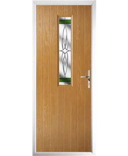 The Sheffield Composite Door in Oak with Green Crystal Harmony
