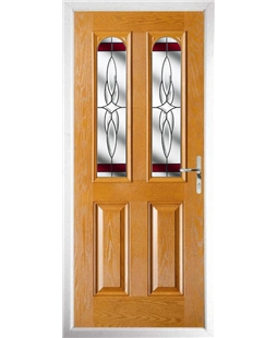 The Aberdeen Composite Door in Oak with Red Crystal Harmony