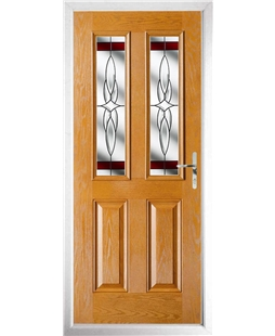 The Cardiff Composite Door in Oak with Red Crystal Harmony