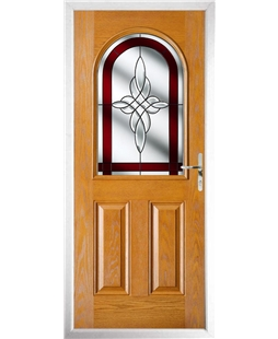 The Edinburgh Composite Door in Oak with Red Crystal Harmony