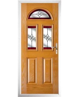 The Glasgow Composite Door in Oak with Red Crystal Harmony