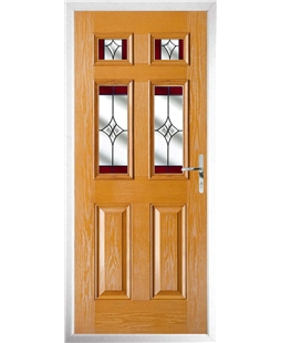 The Oxford Composite Door in Oak with Red Crystal Harmony