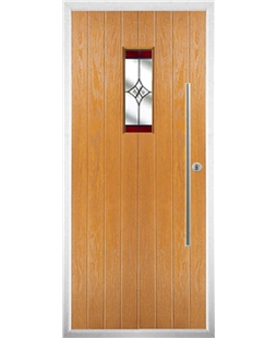 The Zetland Composite Door in Oak with Red Crystal Harmony