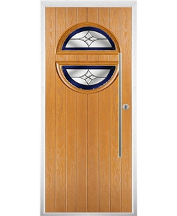 The Xenia Composite Door in Oak with Blue Crystal Harmony