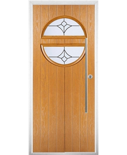 The Xenia Composite Door in Oak with Crystal Tulip Arch