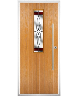 The York Composite Door in Oak with Red Crystal Harmony
