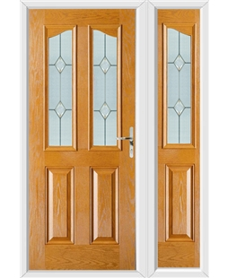 The Birmingham Composite Door in Oak with Classic Glazing and matching Side Panel