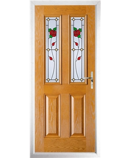 The Cardiff Composite Door in Oak with English Rose