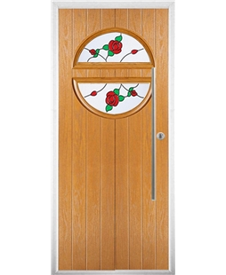 The Xenia Composite Door in Oak with English Rose