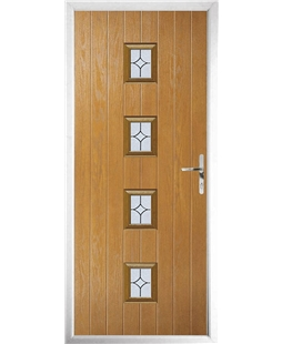 The Uttoxeter Composite Door in Oak with Flair Glazing