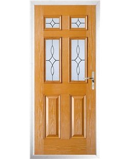 The Oxford Composite Door in Oak with Flair Glazing