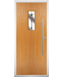 The Zetland Composite Door in Oak with Fleur