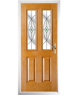 The Cardiff Composite Door in Oak with Green Fusion Ellipse