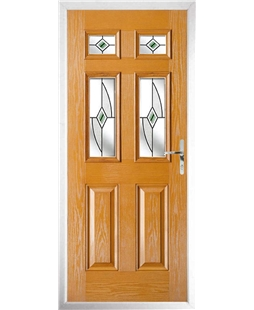 The Oxford Composite Door in Oak with Green Fusion Ellipse