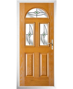 The Glasgow Composite Door in Oak with Green Fusion Ellipse