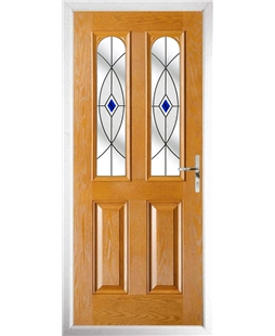 The Aberdeen Composite Door in Oak with Blue Fusion Ellipse