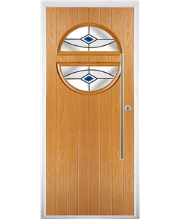 The Xenia Composite Door in Oak with Blue Fusion Ellipse