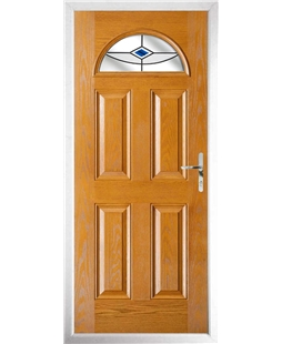 The Derby Composite Door in Oak with Blue Fusion Ellipse