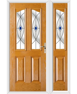 The Birmingham Composite Door in Oak with Blue Fusion Ellipse and matching Side Panel