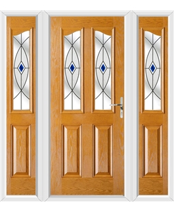 The Birmingham Composite Door in Oak with Blue Fusion Ellipse and matching Side Panels